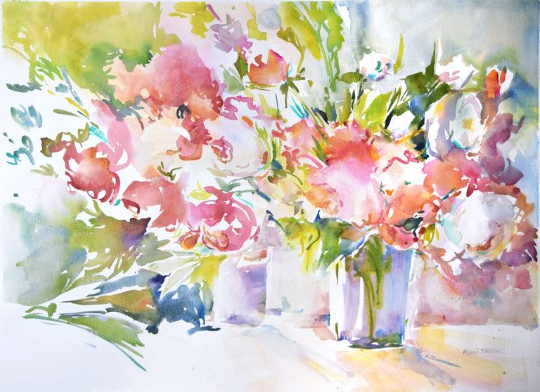 agnes martin genty aquarelle bouquet fleurs roses