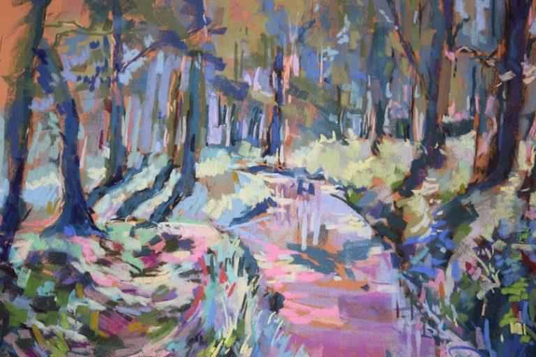 agnes martin genty peintre pastel paysage figuratif lot paysage foret riviere couleurs bleu