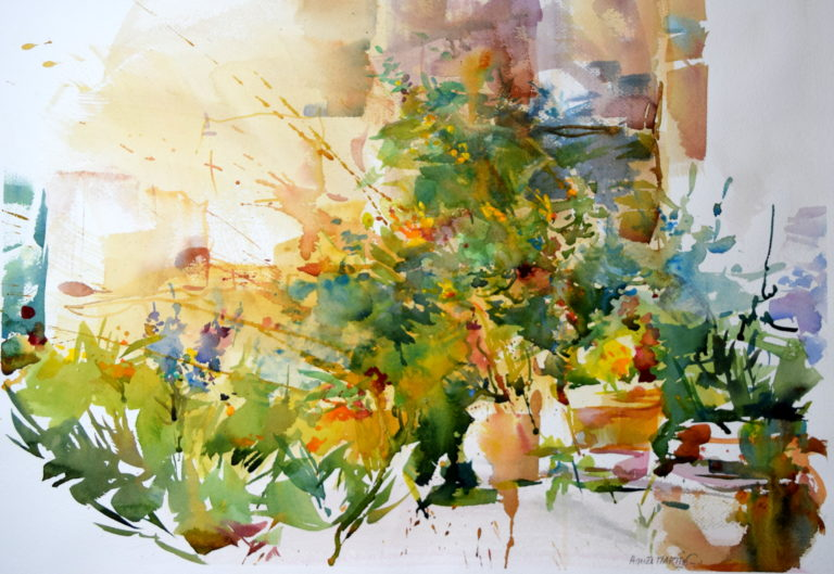 Agnes martin genty peintre aquarelle roses bouquet fleurs