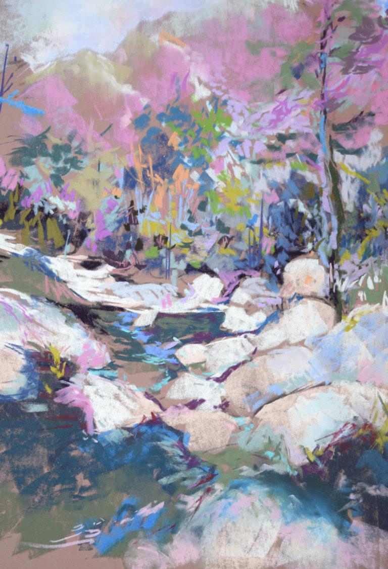 agnes martin genty peintre pastel paysage figuratif lot paysage riviere torrent corse riviere couleurs bleu