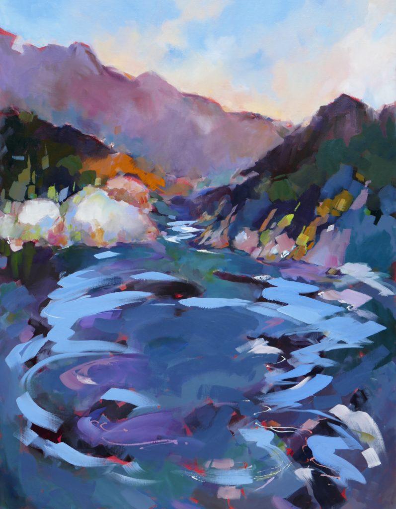 agnes martin genty peintre huile paysage contemporain dynamique eau tourbillon montagnes
