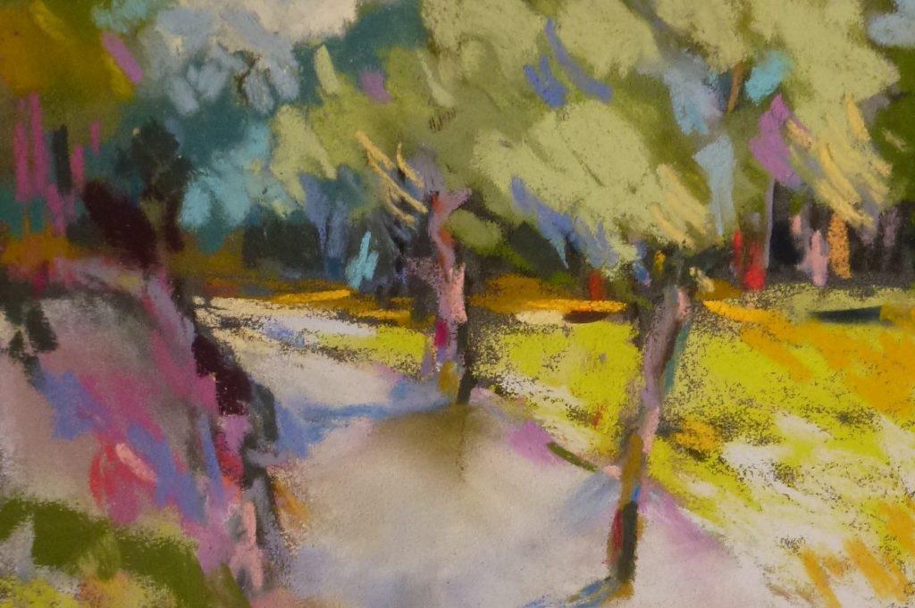 agnes martin genty pastel paysage peintre figuratif plein air arbre chemin