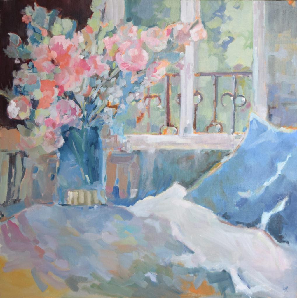 agnes martin genty peinture huile fenetre romantique bleu lit