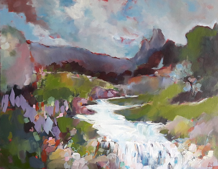 agnes martin genty peintre contemporain huile paysage montagne torrent eau nuages ciel