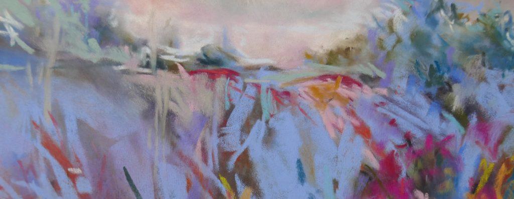 agnes martin genty peintre pastel paysage figuratif herbes bleu