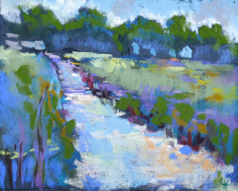 agnes martin genty peintre pastel paysage figuratif lot paysage mer oleron bleu ruisseau