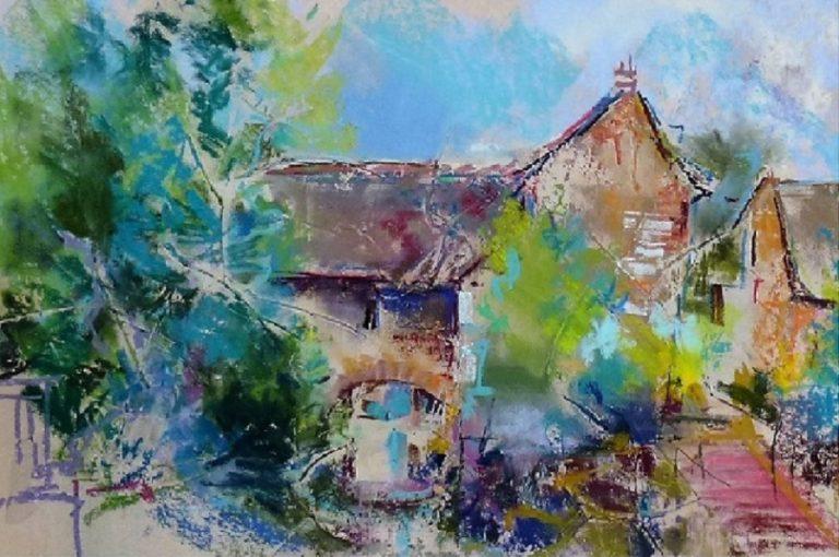 agnes martin genty peintre pastel paysage figuratif lot paysage moulin pont quercy