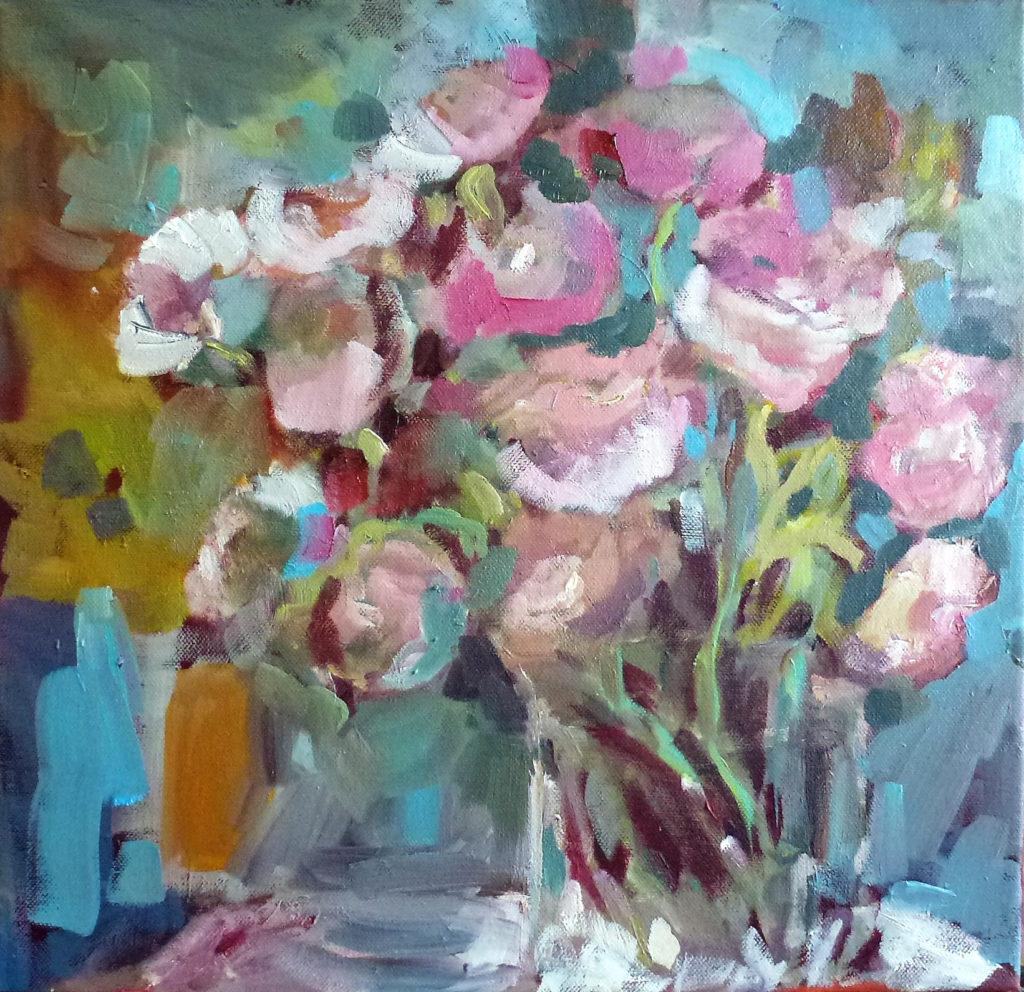 agnes martin genty peintre huile bouquet fleurs